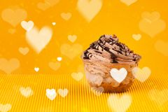 Delicious party cakes with heart shape symbols on colorful backg Royalty Free Stock Photography