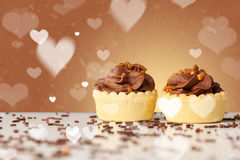 Delicious party cakes with heart shape symbols on colorful backg Royalty Free Stock Photos
