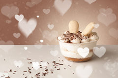 Delicious party cakes with heart shape symbols on colorful backg Royalty Free Stock Photo