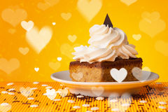 Delicious party cakes with heart shape symbols on colorful backg Stock Images