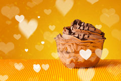 Delicious party cakes with heart shape symbols on colorful backg Royalty Free Stock Images