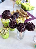 Delicious party food. Chocolate cake pop with chocolate sprinkles,... for party stock images