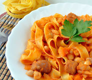 Pasta with beans Stock Photo