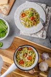 Delicious pasta with blue cheese Royalty Free Stock Image