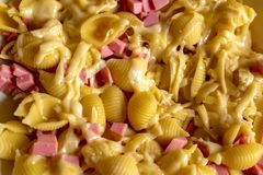 Delicious pasta with cheese and finely chopped sausage stock photos