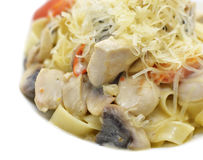 Delicious pasta with chicken and mushrooms royalty free stock images