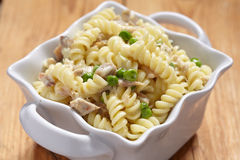 Delicious pasta with chicken and peas Royalty Free Stock Photo