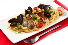 Delicious pasta with clams Stock Image
