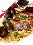 Delicious pasta with clams Royalty Free Stock Image
