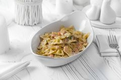 Delicious pasta dish with meat and cheese royalty free stock photos