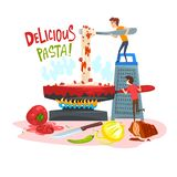 Delicious pasta, little people cooking traditional Italian pasta, design element for banner, poster, greeting card vector illustration