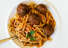 Delicious Pasta with Meatballs, upper view Stock Images