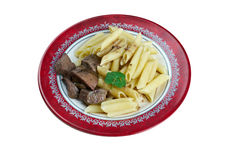 Delicious pasta with pork liver Royalty Free Stock Photos