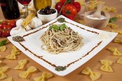 Delicious pasta with pumpkin pesto Stock Images