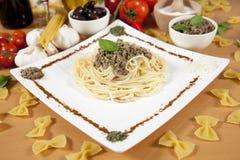 Delicious pasta with pumpkin pesto Stock Photo