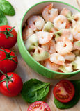 Delicious pasta with shrimps Royalty Free Stock Photo