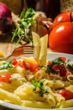 Delicious pasta with tomatoes Stock Image