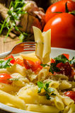 Delicious pasta with tomatoes Royalty Free Stock Images