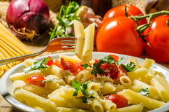 Delicious pasta with tomatoes Royalty Free Stock Image