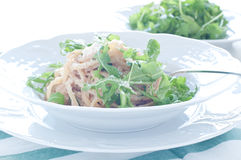 Delicious pasta with tuna and rocket Stock Images