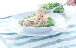 Delicious pasta with tuna and rocket Royalty Free Stock Images