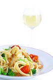 Delicious pasta with wine Royalty Free Stock Photography