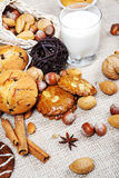 Delicious pastry on hessian cloth Stock Photos