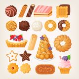 Delicious pastry products in different shapes and flavors Royalty Free Stock Images