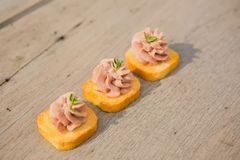 Delicious Pate Canapes Stock Photos
