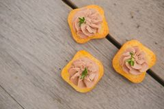 Delicious Pate Canapes Royalty Free Stock Photography