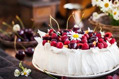 Delicious Pavlova meringue cake decorated stock photos