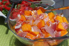 Delicious pawpaw and prosciutto salad Royalty Free Stock Photo