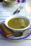 A delicious pea soup & toast. Royalty Free Stock Photos