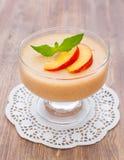 Delicious peach mousse Stock Photos