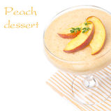 Delicious peach souffle, isolated on white, close-up Stock Images