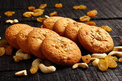 Delicious peanut butter  cookies with nuts and raisins Stock Photography