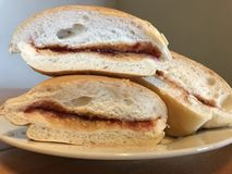 Delicious. Peanut butter and jelly sandwich Royalty Free Stock Images