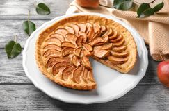 Delicious pear tart. On plate Stock Photography