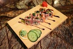 Delicious Philadelphia maki sushi rolls Stock Photos