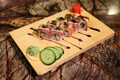 Delicious Philadelphia maki sushi rolls Stock Photography