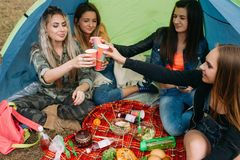 Delicious picnic food and drink tourist friends. Happy together. Relaxation in the tent Stock Photo