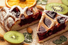 Delicious pie with cranberries decorated with kiwi Royalty Free Stock Photography