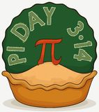 Pie with Pi Symbol and Round Chalkboard for Pi Day, Vector Illustration. Delicious pie with a decorative pi symbol in the top over a rounded label like royalty free illustration