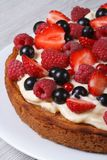 Delicious pie with fresh berries close up vertical. On the table Stock Photos