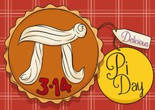 Delicious Pie over Tablecloth and Labels to Celebrate Pi Day, Vector Illustration vector illustration