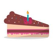Delicious piece cake chocolate candle birthday party Royalty Free Stock Photography