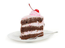 A delicious piece of chocolate cake with cherry cream and canned Royalty Free Stock Images
