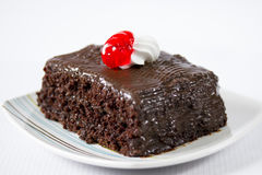 Delicious piece of chocolate cake Royalty Free Stock Photography