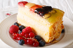 Delicious piece of fruit cake jelly on a plate. Horizontal Royalty Free Stock Image