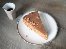 Delicious piece of a hazelnut chocklate cake Royalty Free Stock Images